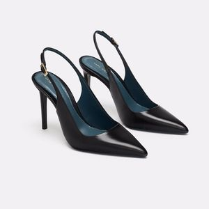 ZARA BLUE COLLECTION  100% LEATHER SLINGBACK HEELS